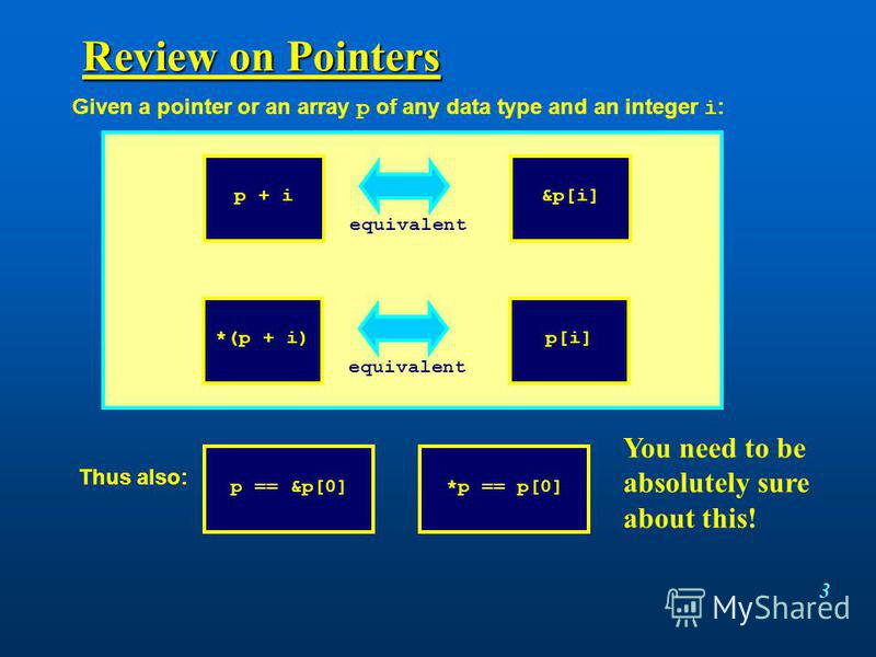3 Review on Pointers p + i&p[i] equivalent *(p + i)p[i] equivalent Given a pointer or an array p of any data type and an integer i : Thus also: p == &p[0]*p == p[0] You need to be absolutely sure about this!