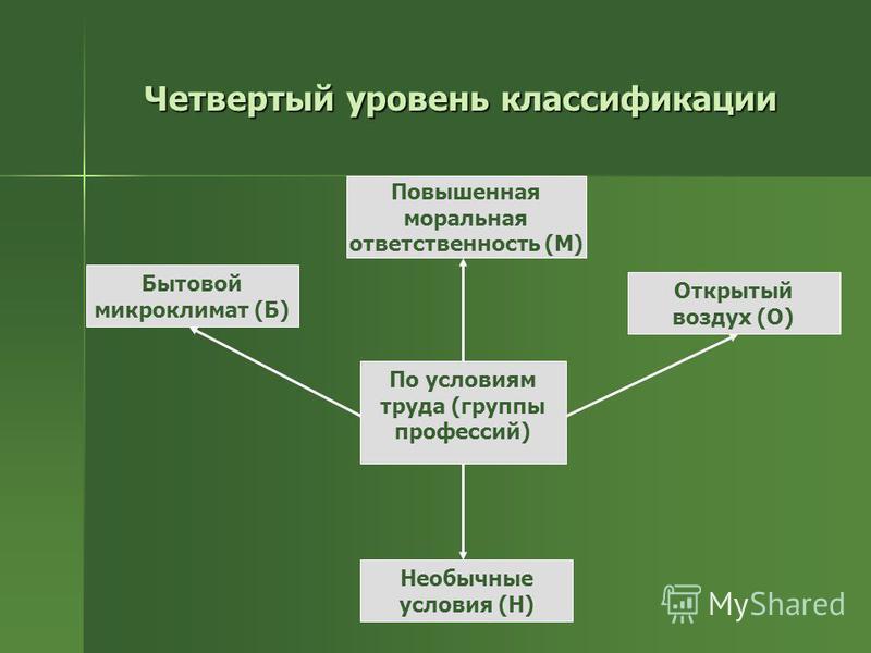 Четвертый уровень классификации Открытый воздух (О) Повышенная моральная ответственность (М) Необычные условия (Н) Бытовой микроклимат (Б) По условиям труда (группы профессий)
