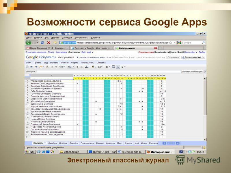 Возможности сервиса Google Apps Электронный классный журнал