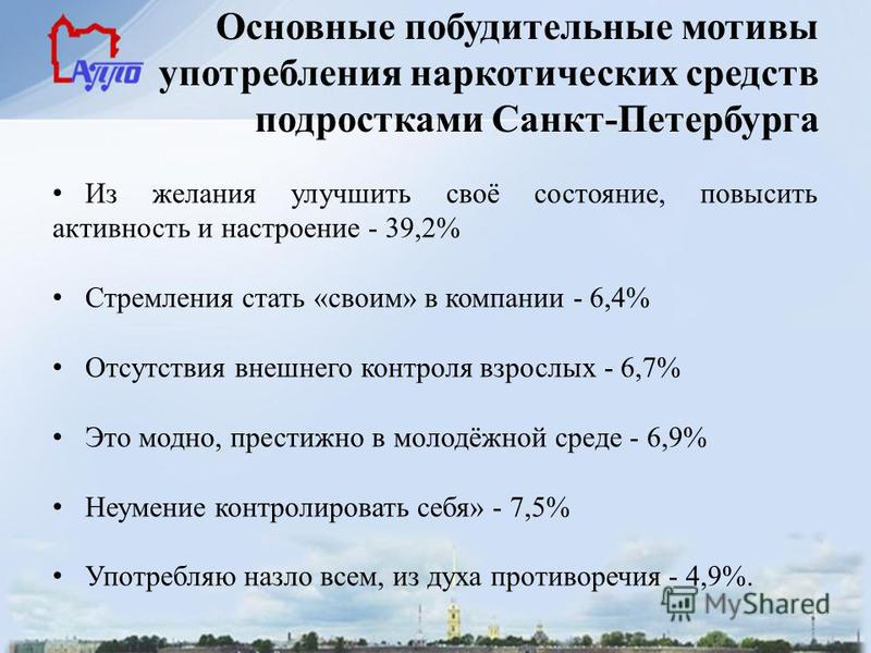 Основные побудительные мотивы употребления наркотических средств подростками Санкт-Петербурга Из желания улучшить своё состояние, повысить активность и настроение - 39,2% Стремления стать «своим» в компании - 6,4% Отсутствия внешнего контроля взрослы