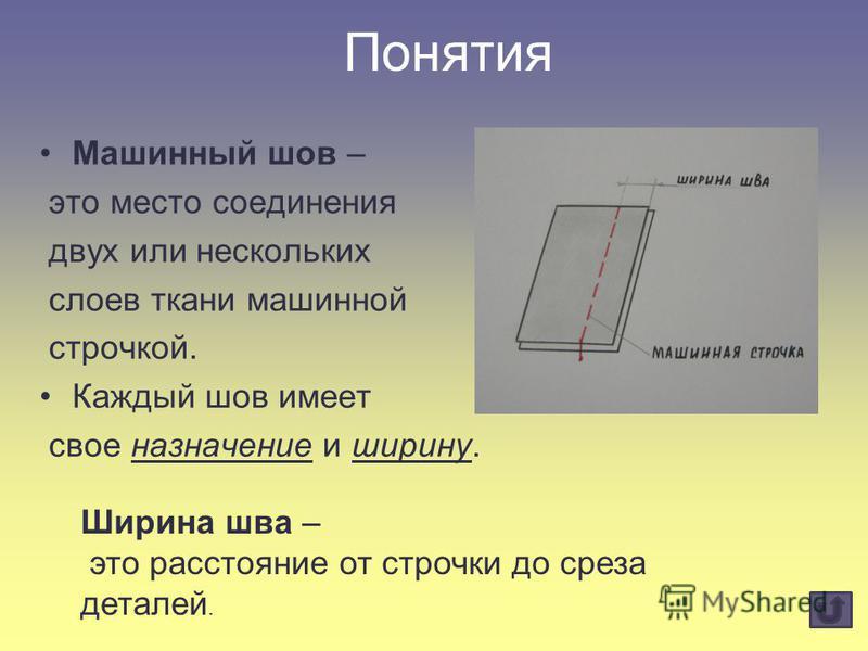 Понятия Машинный шов – это место соединения двух или нескольких слоев ткани машинной строчкой. Каждый шов имеет свое назначение и ширину. Ширина шва – это расстояние от строчки до среза деталей.