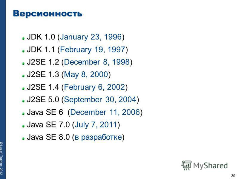 39 © Luxoft Training 2012 Версионность JDK 1.0 (January 23, 1996) JDK 1.1 (February 19, 1997) J2SE 1.2 (December 8, 1998) J2SE 1.3 (May 8, 2000) J2SE 1.4 (February 6, 2002) J2SE 5.0 (September 30, 2004) Java SE 6 (December 11, 2006) Java SE 7.0 (July
