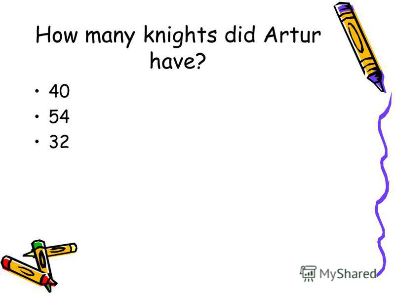 How many knights did Artur have? 40 54 32