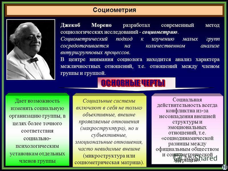 Социометрия 10 Джекоб Морено разработал современный метод социологических исследований - социометрию. Социометрический подход к изучению малых групп сосредотачивается на количественном анализе внутригрупповых процессов. В центре внимания социолога на