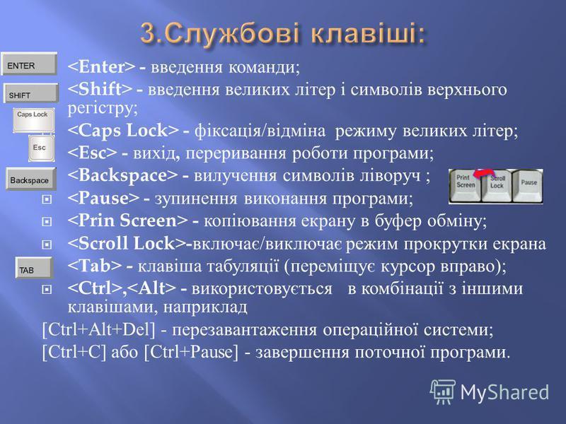 - введення команди ; - введення великих літер і символів верхнього регістру ; - фіксація / відміна режиму великих літер ; - вихід, переривання роботи програми ; - вилучення символів ліворуч ; - зупинення виконання програми ; - копіювання екрану в буф