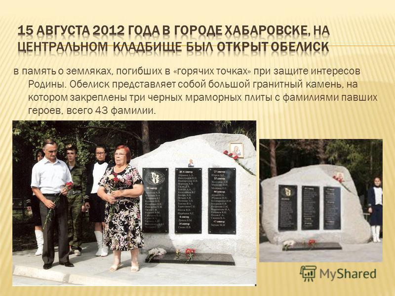 в память о земляках, погибших в «горячих точках» при защите интересов Родины. Обелиск представляет собой большой гранитный камень, на котором закреплены три черных мраморных плиты с фамилиями павших героев, всего 43 фамилии.