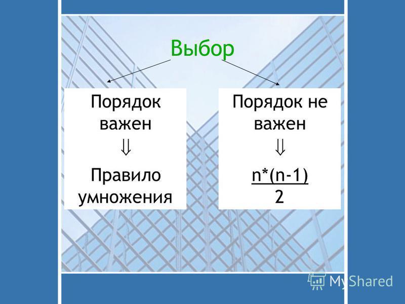 Выбор Порядок важен Правило умножения Порядок не важен n*(n-1) 2