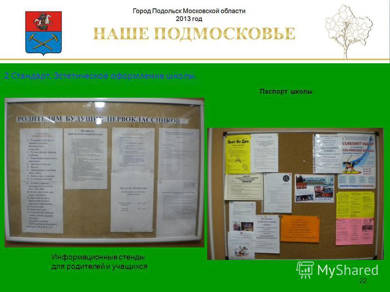 Паспорт школы Люберецкий муниципальный район 22 Информационные стенды для родителей и учащихся 2 Стандарт. Эстетическое оформление школы.