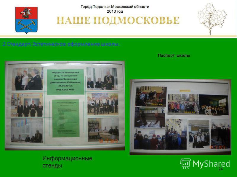 Паспорт школы Люберецкий муниципальный район 24 Информационные стенды 2 Стандарт. Эстетическое оформление школы.
