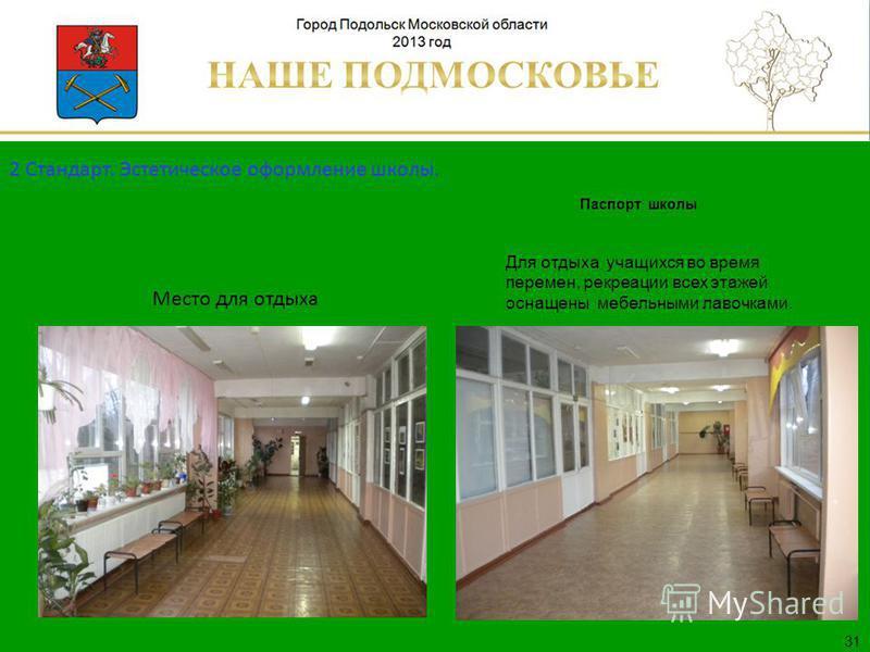 Паспорт школы Люберецкий муниципальный район 31 Для отдыха учащихся во время перемен, рекреации всех этажей оснащены мебельными лавочками. Место для отдыха 2 Стандарт. Эстетическое оформление школы.