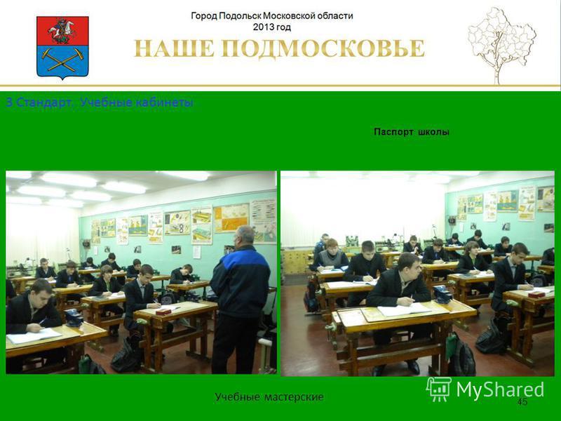 Паспорт школы Люберецкий муниципальный район 45 Учебные мастерские 3 Стандарт. Учебные кабинеты