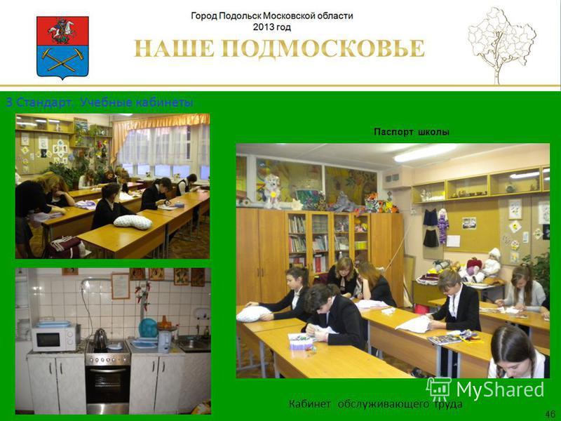 Паспорт школы Люберецкий муниципальный район 46 Кабинет обслуживающего труда 3 Стандарт. Учебные кабинеты