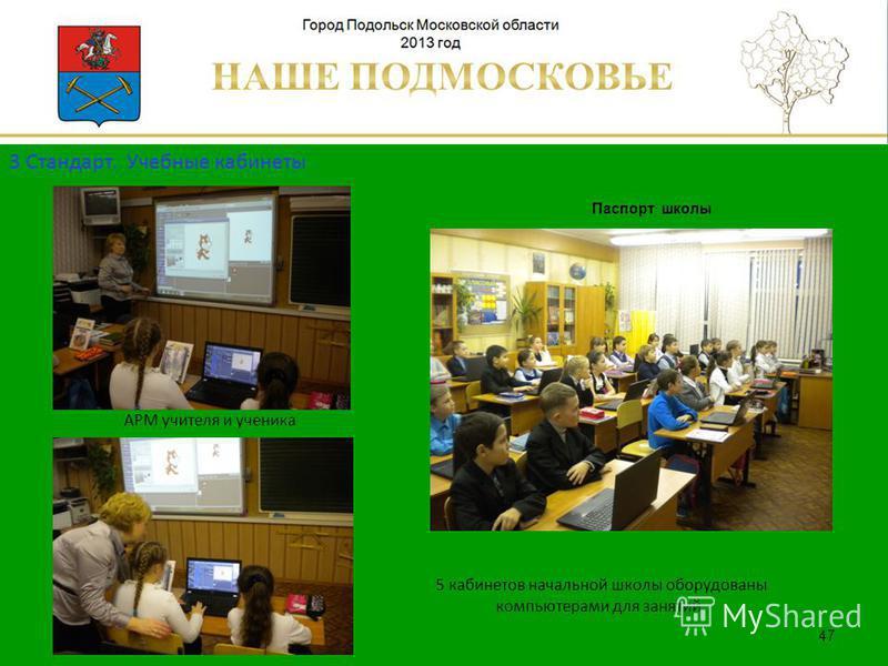 Паспорт школы Люберецкий муниципальный район 47 АРМ учителя и ученика 5 кабинетов начальной школы оборудованы компьютерами для занятий. 3 Стандарт. Учебные кабинеты