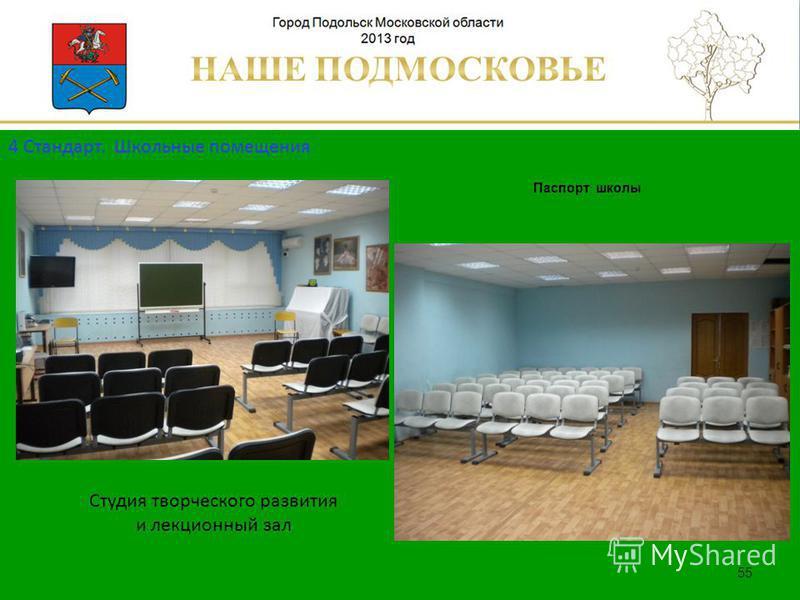 Паспорт школы Люберецкий муниципальный район 55 Студия творческого развития и лекционный зал 4 Стандарт. Школьные помещения
