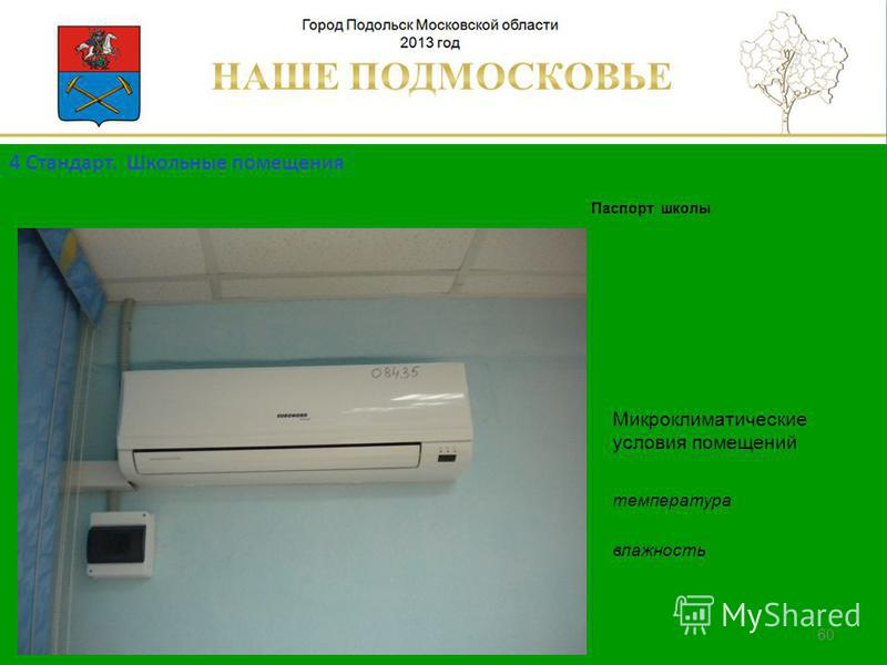 Паспорт школы Люберецкий муниципальный район 60 Микроклиматические условия помещений температура влажность 4 Стандарт. Школьные помещения