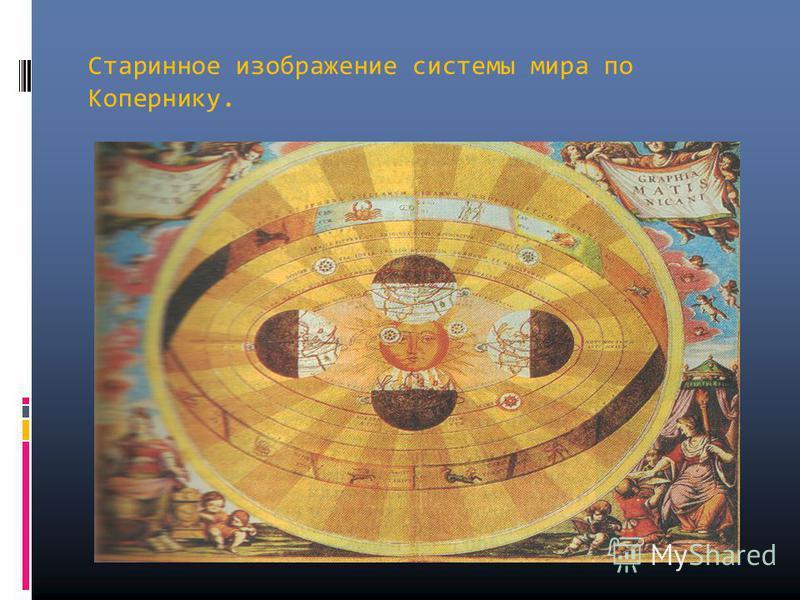 Старинное изображение системы мира по Копернику.