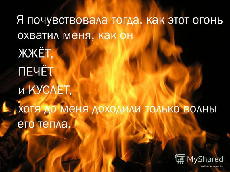 Я почувствовала тогда, как этот огонь охватил меня, как он ЖЖЁТ, ПЕЧЁТ и КУСАЕТ, хотя до меня доходили только волны его тепла.