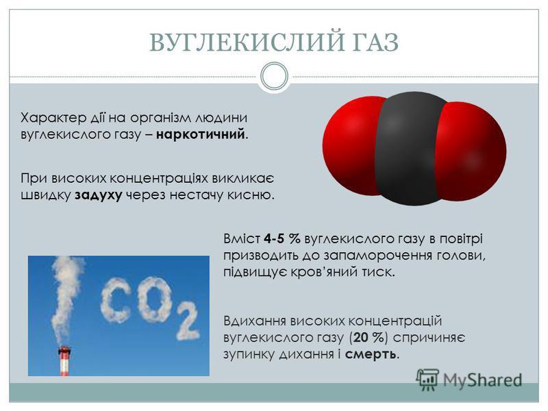 Характер дії на організм людини вуглекислого газу – наркотичний. При високих концентраціях викликає швидку задуху через нестачу кисню. Вміст 4-5 % вуглекислого газу в повітрі призводить до запаморочення голови, підвищує кровяний тиск. Вдихання високи