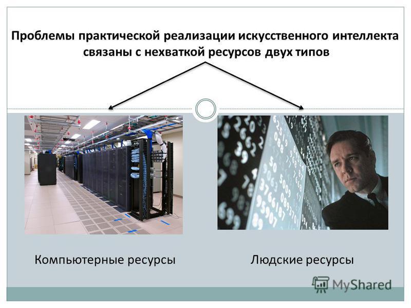 Проблемы практической реализации искусственного интеллекта связаны с нехваткой ресурсов двух типов Компьютерные ресурсы Людские ресурсы
