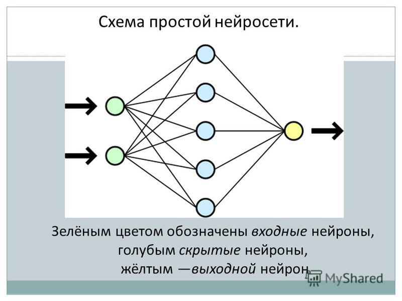 Схема простой нейросети. Зелёным цветом обозначены входные нейроны, голубым скрытые нейроны, жёлтым выходной нейрон
