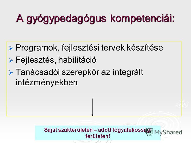 A gyógypedagógus kompetenciái: Programok, fejlesztési tervek készítése Programok, fejlesztési tervek készítése Fejlesztés, habilitáció Fejlesztés, habilitáció Tanácsadói szerepkör az integrált intézményekben Tanácsadói szerepkör az integrált intézmén
