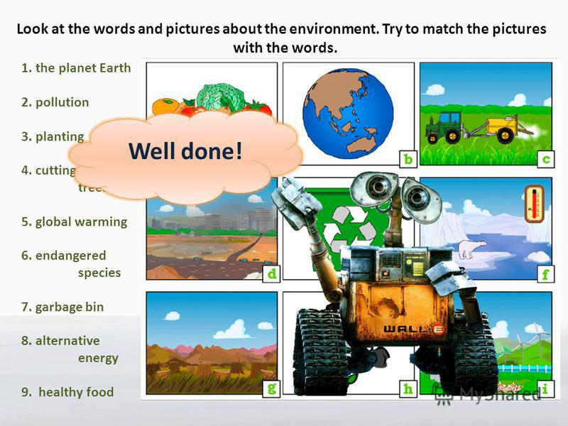 Help… Look at the words and pictures about the environment. Try to match the pictures with the words. 1. the planet Earth 2. pollution 3. planting 4. cutting down trees 5. global warming 6. endangered species 7. garbage bin 8. alternative energy 9. h