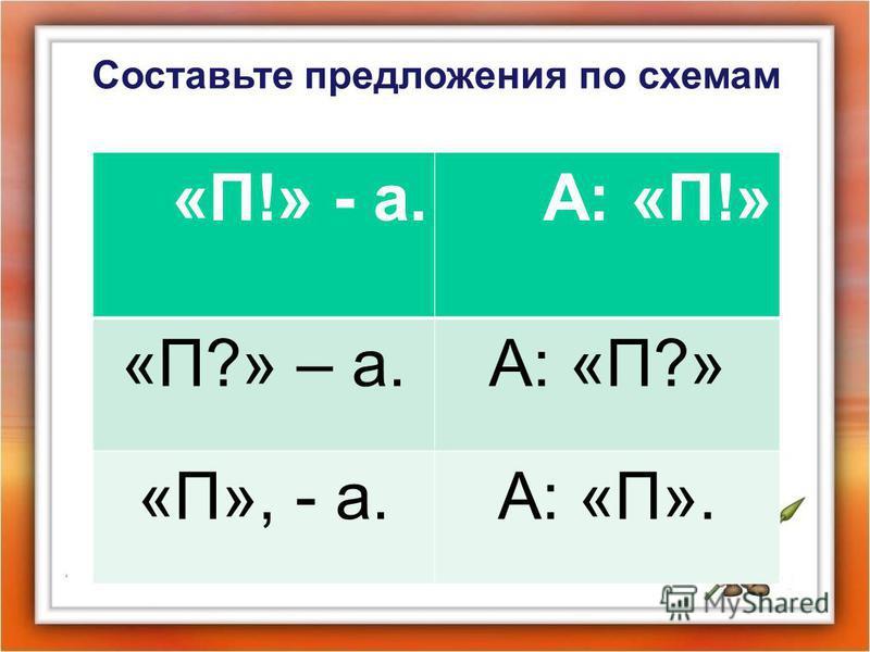 Составьте предложения по схемам «П!» - а.А: «П!» «П?» – а.А: «П?» «П», - а.А: «П».