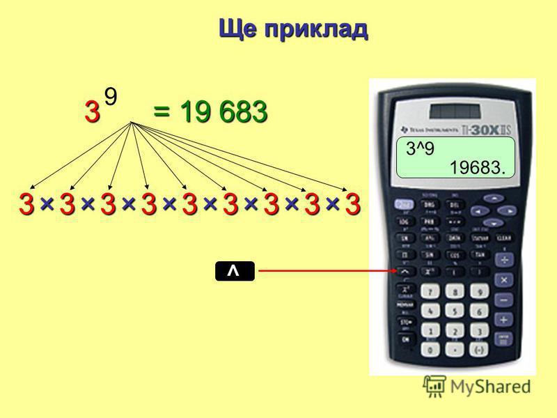 12345 33333++++ 35× 33333++++ 36× 3+ 12345 33333×××× 3 5 33333×××× ? 3 6 3× = 15 = 18 = 243 = 729 Повторне складання Повторне множення Повторення арифметики аналогічно
