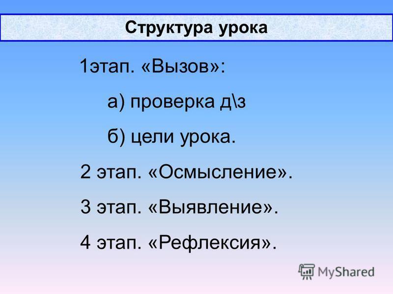 Структура урока 1 этап. «Вызов»: а) проверка д\з б) цели урока. 2 этап. «Осмысление». 3 этап. «Выявление». 4 этап. «Рефлексия».