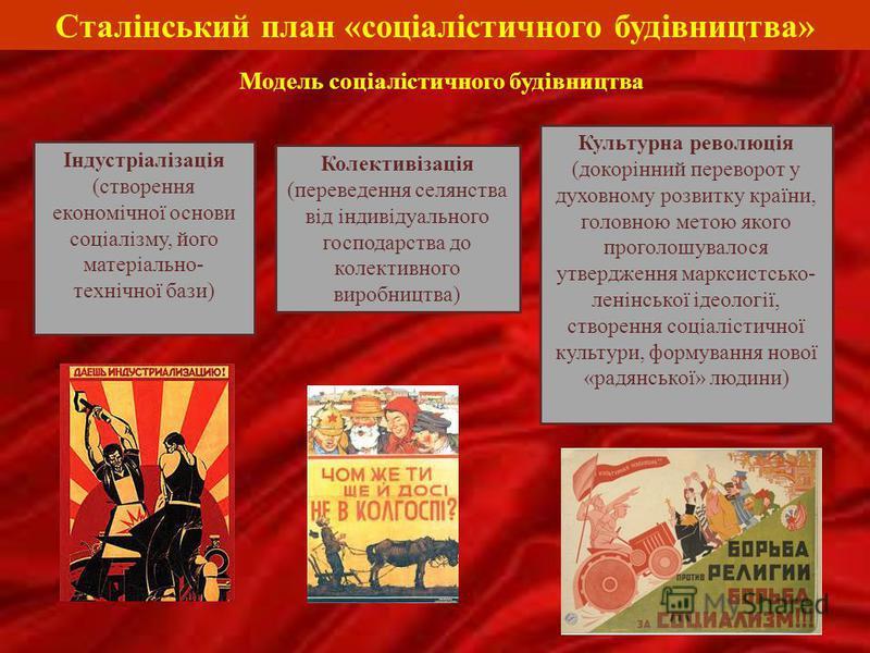 Сталінський план «соціалістичного будівництва» Індустріалізація (створення економічної основи соціалізму, його матеріально- технічної бази) Культурна революція (докорінний переворот у духовному розвитку країни, головною метою якого проголошувалося ут