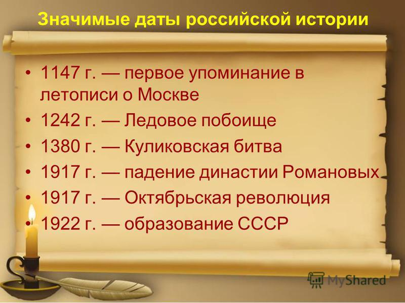 Значимые даты российской истории 1147 г. первое упоминание в летописи о Москве 1242 г. Ледовое побоище 1380 г. Куликовская битва 1917 г. падение династии Романовых 1917 г. Октябрьская революция 1922 г. образование СССР