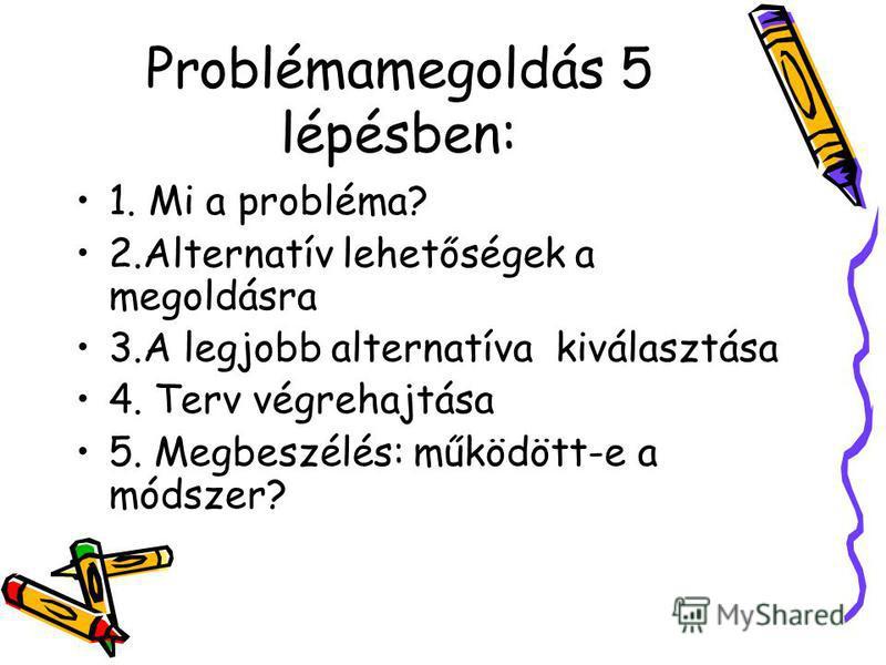 Problémamegoldás 5 lépésben: 1. Mi a probléma? 2.Alternatív lehetőségek a megoldásra 3.A legjobb alternatíva kiválasztása 4. Terv végrehajtása 5. Megbeszélés: működött-e a módszer?