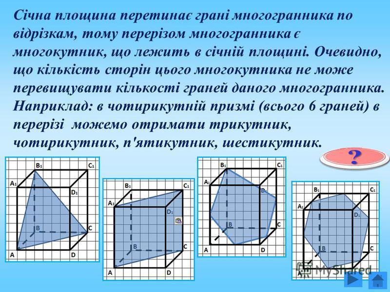Січна площина перетинає грані многогранника по відрізкам, тому перерізом многогранника є многокутник, що лежить в січній площині. Очевидно, що кількість сторін цього многокутника не може перевищувати кількості граней даного многогранника. Наприклад: