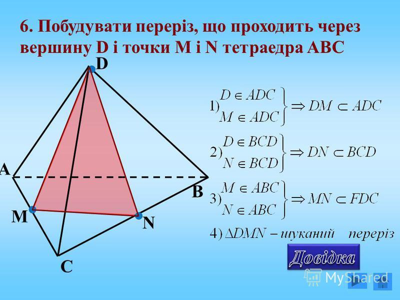 А С В D 6. Побудувати переріз, що проходить через вершину D і точки М і N тетраедра АВС N M