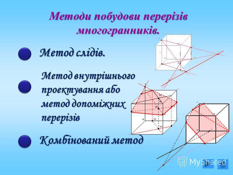 Методи побудови перерізів многогранників. Метод слідів. Метод внутрішнього проектування або метод допоміжних перерізів Комбінований метод