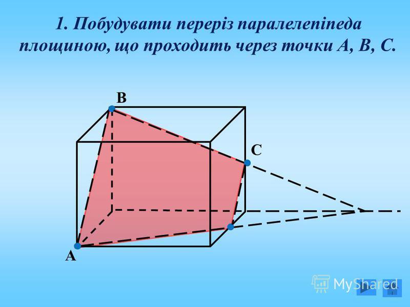 1. Побудувати переріз паралелепіпеда площиною, що проходить через точки А, В, С. А С В