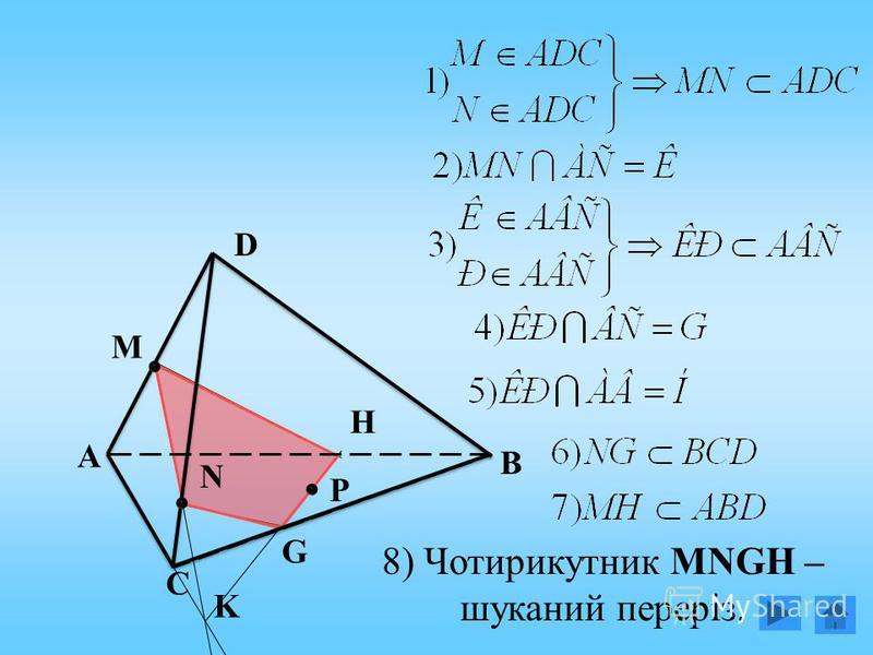 А N М Р D С В K H G 8) Чотирикутник MNGH – шуканий переріз.