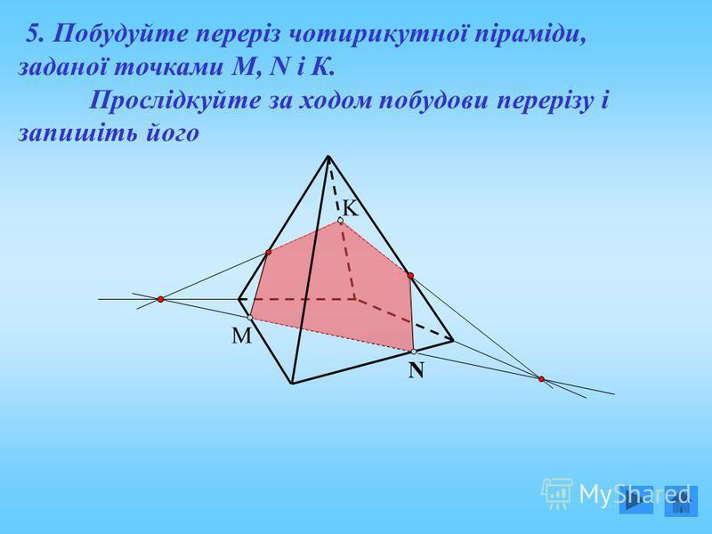 M N K 5. Побудуйте переріз чотирикутної піраміди, заданої точками М, N і К. Прослідкуйте за ходом побудови перерізу і запишіть його