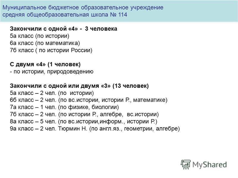 Муниципальное бюджетное образовательное учреждение средняя общеобразовательная школа 114 Закончили с одной «4» - 3 человека 5 а класс (по истории) 6 а класс (по математика) 7 б класс ( по истории России) С двумя «4» (1 человек) - по истории, природов