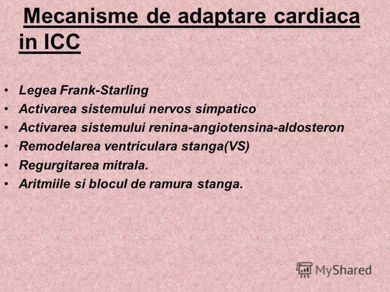 Mecanisme de adaptare cardiaca in ICC Legea Frank-Starling Activarea sistemului nervos simpatico Activarea sistemului renina-angiotensina-aldosteron Remodelarea ventriculara stanga(VS) Regurgitarea mitrala. Aritmiile si blocul de ramura stanga.