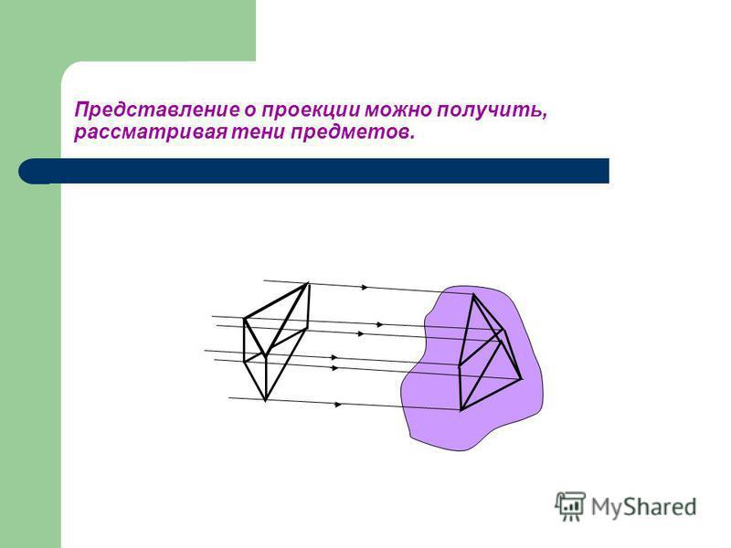 Представление о проекции можно получить, рассматривая тени предметов.