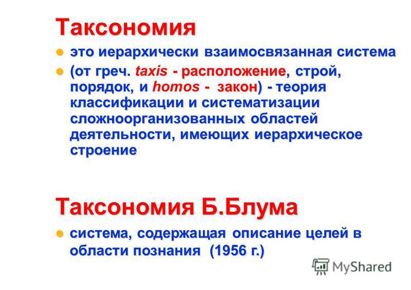 Таксономия это иерархически взаимосвязанная система это иерархически взаимосвязанная система (от греч. - расположение, строй, порядок, и - закон) - теория классификации и систематизации сложноорганизованных областей деятельности, имеющих иерархическо