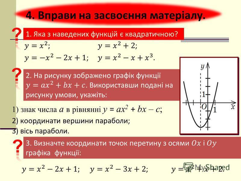 1. Яка з наведених функцій є квадратичною? 4. Вправи на засвоєння матеріалу. 2) координати вершини параболи; 3) вісь параболи. 1) знак числа a в рівнянні у = ах 2 + bх – c ;