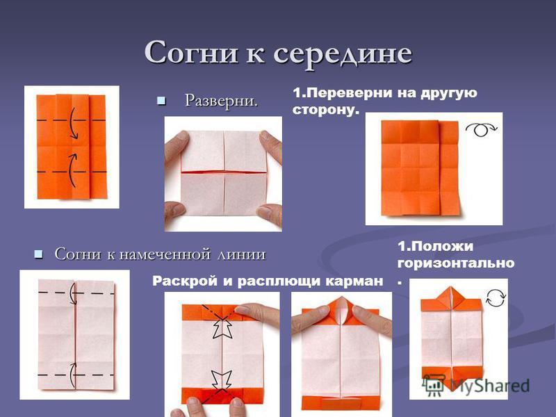 Согни к середине Разверни. Согни к намеченной линии 1. Переверни на другую сторону. Раскрой и расплющи карман 1. Положи горизонтально.
