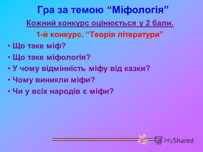 Гра за темою Міфологія Кожний конкурс оцінюється у 2 бали. 1-й конкурс. Теорія літератури Що таке міф? Що таке міфологія? У чому відмінність міфу від казки? Чому виникли міфи? Чи у всіх народів є міфи?