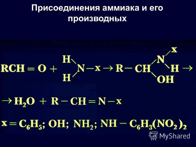 Присоединения аммиака и его производных