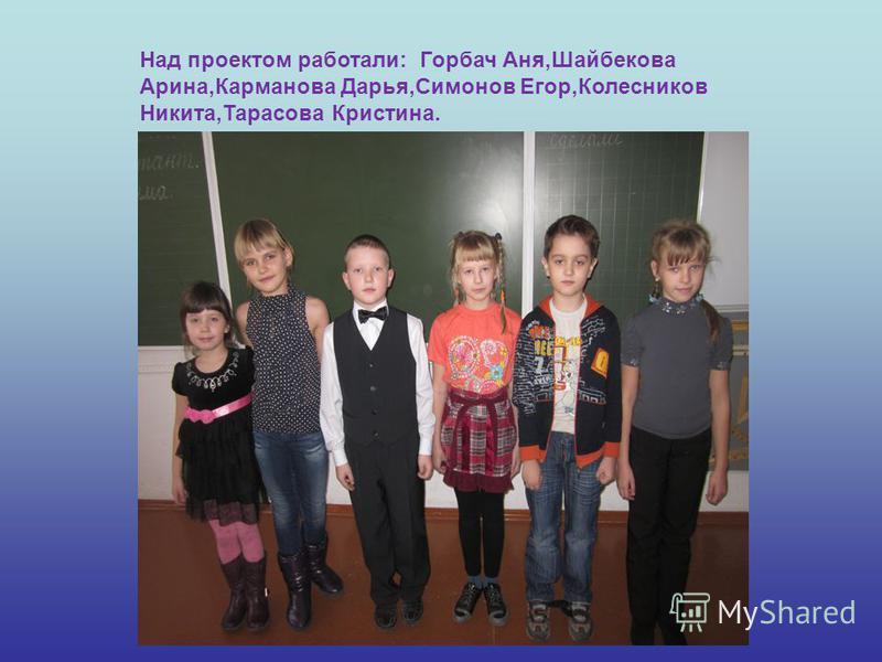 Над проектом работали: Горбач Аня,Шайбекова Арина,Карманова Дарья,Симонов Егор,Колесников Никита,Тарасова Кристина.