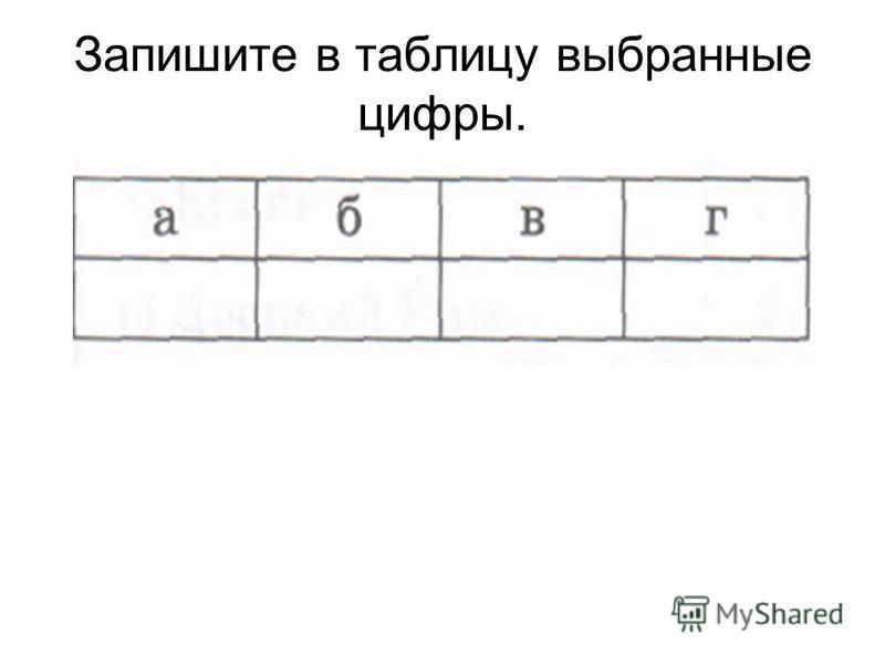 Запишите в таблицу выбранные цифры.