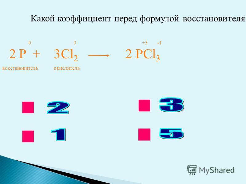 ok нет Какой коэффициент перед формулой восстановителя? P + Cl 2 PCl 3 0 0 +3 -1 223 восстановитель окислитель
