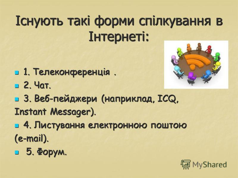 Існують такі форми спілкування в Інтернеті: 1. Телеконференція. 1. Телеконференція. 2. Чат. 2. Чат. 3. Веб-пейджери (наприклад, ICQ, 3. Веб-пейджери (наприклад, ICQ, Instant Messager). 4. Листування електронною поштою 4. Листування електронною поштою